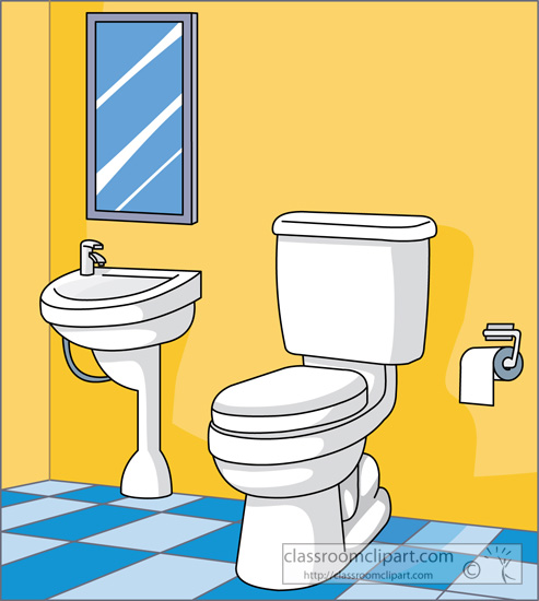 Household Toilet Sink In Bathroom Classroom Clipart