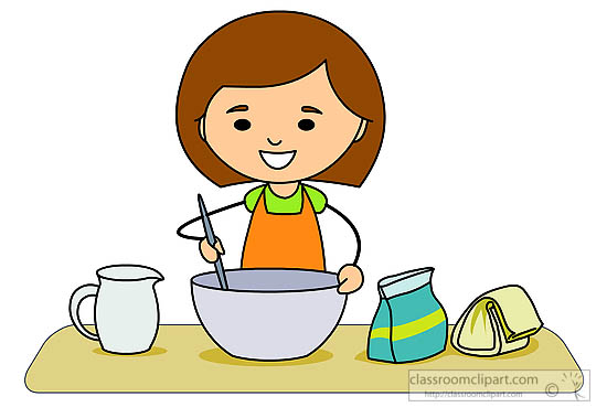 Kitchen Clipart - girl-making-mixing-baking-ingredients ...
