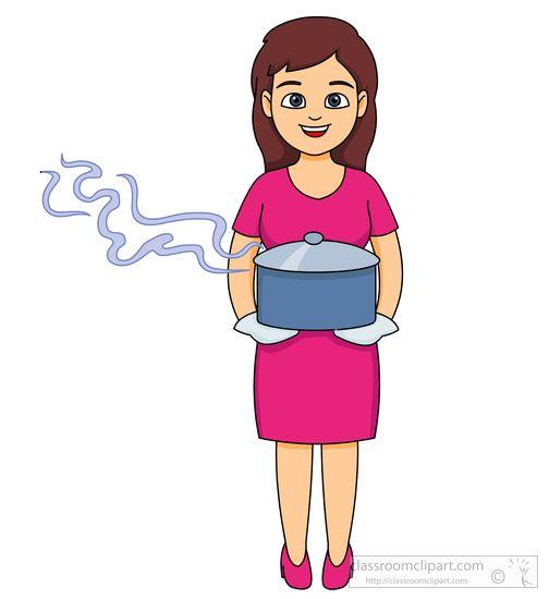 lady carries a hot deep dish casserole clipart.jpg