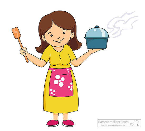 Kitchen : lady-wearing-an-apron-holding-cooking-utensils-clipart ...