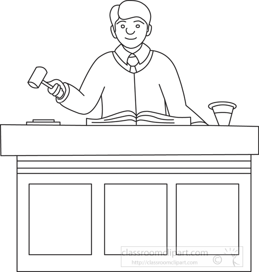 Legal clipart judge in courtroom outline classroom clipart Coloring book for lawyers