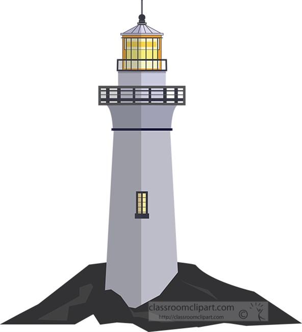 lighthouse on a rocky shore clipart.jpg
