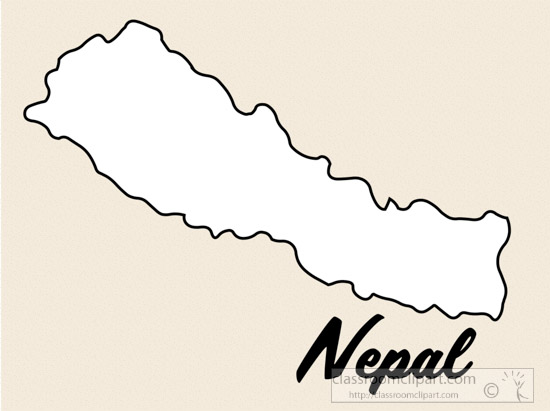 Good Nepal Country Map Black White Clipart. Size: 80 Kb
