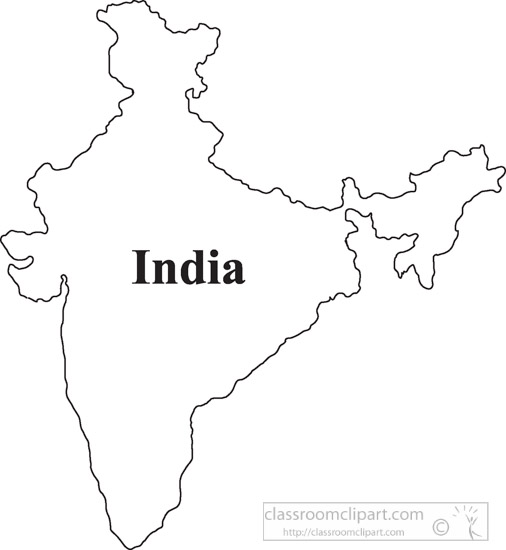 Country Maps India Outline Map Clipart 1004 Classroom Clipart