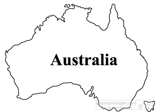 Line Drawing Map Of Australia : Country maps clipart australia outline map