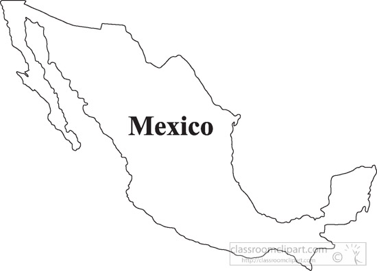 Country maps clipart mexico map clipart 1005 13 bw for Mexico map coloring page