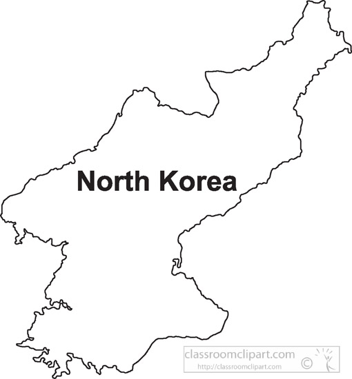 Country Maps North Korea Outline Map Clipart Classroom Clipart