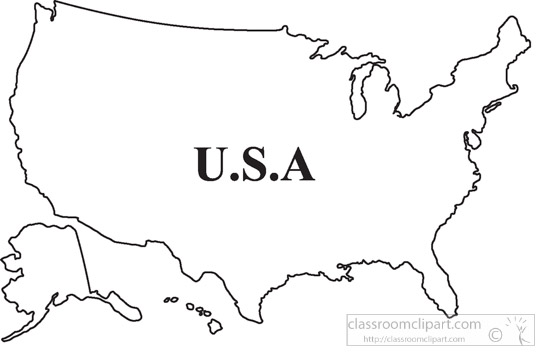 Country Maps Clipart United States Outline Map Clipart 2