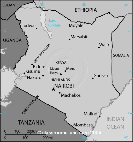 Gray Scale Maps : Kenya_map_28Mgr : Classroom Clipart