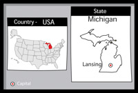 Lansing Michigan State Us Map With Capital Black White And Gray Size 66 Kb From Us State Black White Maps