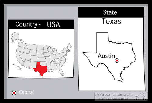 Austin Texas State Us Map With Capital Bw