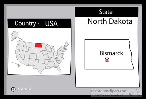 US State Black White Maps Clipart Bismarcknorthdakotastateus - North dakota on us map