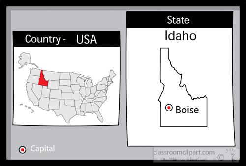 US State Black White Maps Clipart boiseidaho2stateusmapwith