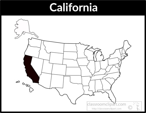 Us State Black White Maps Clipart California Us Map Square Black