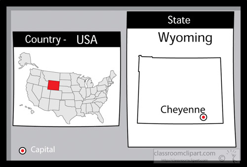 cheyenne wyoming state us map with capital bw