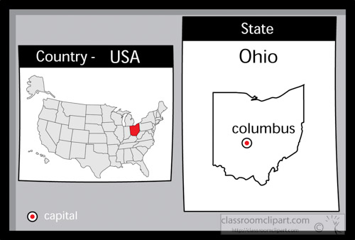 US State Black White Maps Clipart- columbus-ohio-state-us-map-with ...