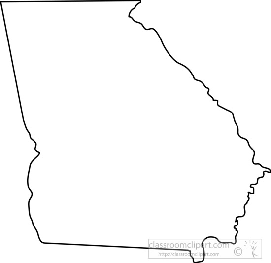 Us State Black White Maps Georgia State Map Outline Clipart