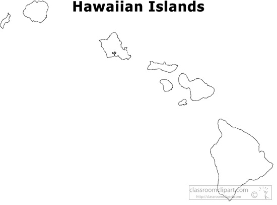 Us State Black White Maps Hawaii Outline Us State Clipart