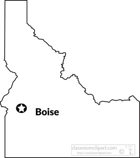 Us State Black White Maps Idaho State Map Outline Capital Boise
