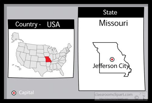 US State Black White Maps Clipart jeffersoncitymissouri2state