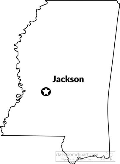 Mississippi Outline Map Capital Jackson Clipart Jpg