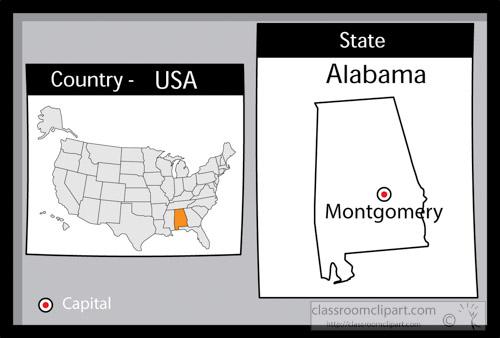 US State Black White Maps Clipart Montgomeryalabamastateus - Alabama on a us map