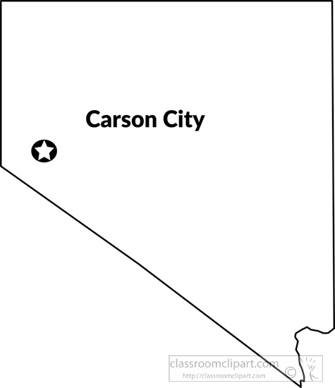 carson city nevada state us map with capital black white and gray size 79 kb from us state black white maps
