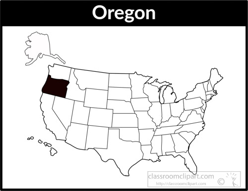 US State Black White Maps Clipart Oregonusmapsquareblack - Us map clipart