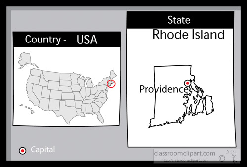 Providence Rhode Island State Us Map With Capital