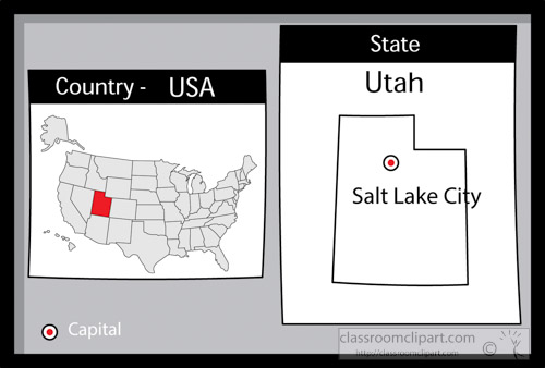 salt lake city utah state us map with