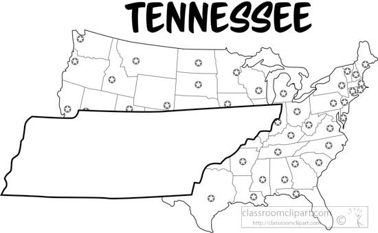 US State Black White Maps : tennessee map united states outline ...
