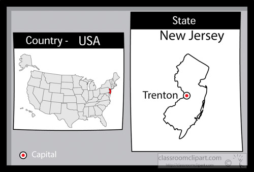 US State Black White Maps Clipart Trentonnewjerseystateus - New jersey on us map