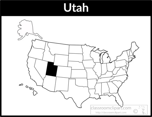 Utah Map Square Black White Clipart