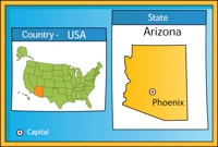 Phoenix Arizona 2 State Us Map With Capital Clipart Phoenix Arizona State Us Map With Capital Size 94 Kb From Us State Maps