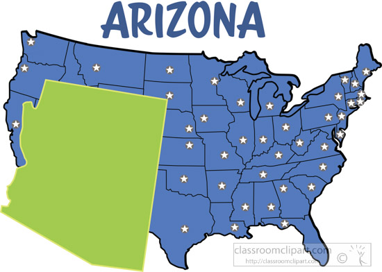 US State Maps Clipart Arizonamapunitedstatesclipart - Map of arizonain in us