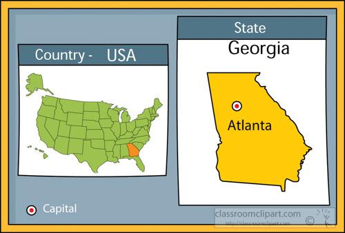 atlanta georgia state us map with capital clipart