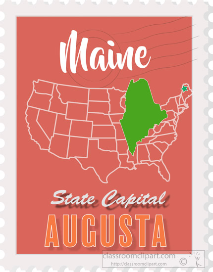 Us State Maps Clipart Augusta Maine State Map Stamp Clipart 2