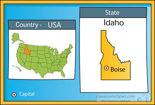 US State Maps Clipart boiseidaho2stateusmapwithcapital