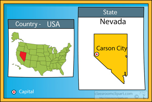 US State Maps Clipart Carsoncitynevadastateusmapwith - Us map nevada