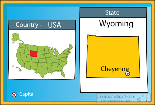 cheyenne wyoming state us map with capital clipart