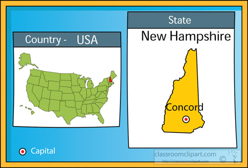 US State Maps Clipart Concordnewhampshirestateusmapwith - Us state map