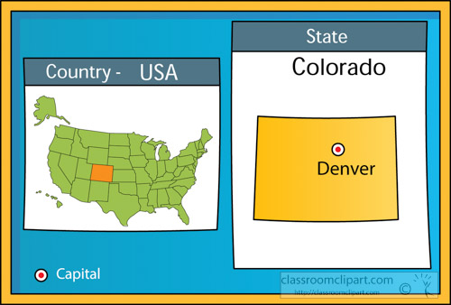 Us State Maps Clipart Denver Colorado 2 State Us Map With Capital
