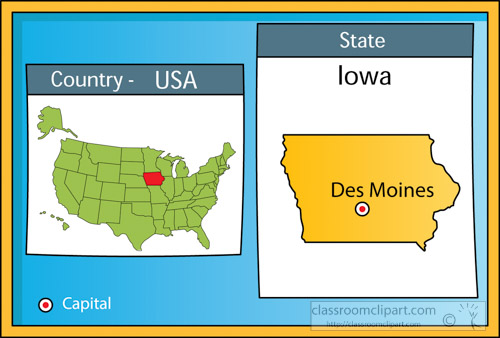 US State Maps Clipart Desmoinesiowa2stateusmapwithcapital - Des Moines Iowa On Us Map