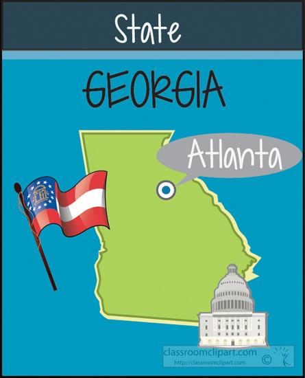 Us State Maps Georgia State Map Capital Flag Classroom Clipart - Us-map-georgia-state