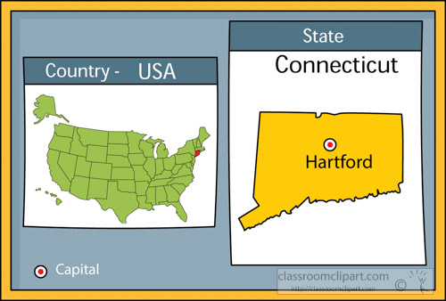 Connecticut In Us Map.Us State Maps Clipart Hartford Connecticut State Us Map With