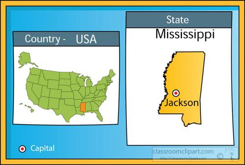 US State Maps Clipart Jacksonmississippistateusmapwith - Jackson mississippi on us map