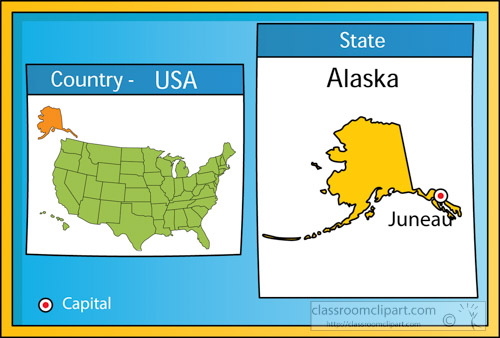 US State Maps Clipart Juneaualaskastateusmapwithcapital - Clip art us map