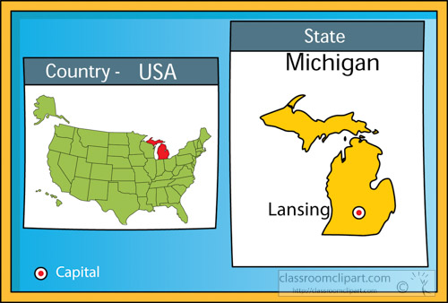 US State Maps   lansing michigan 2 state us map with capital