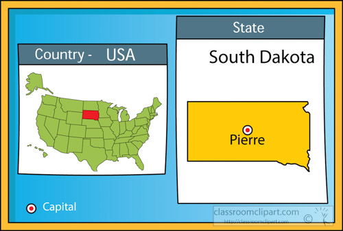 Us State Maps Pierre South Dakota State Us Map With Capital