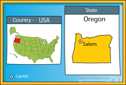 US State Maps Clipart  salem oregon state us map with capital